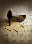 Love Letter Posters - Black High Heel Shoe on Letter Poster by Jill Battaglia