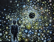 Political Allegory Metal Prints - Black Hole Man Metal Print by Shelly Leitheiser