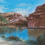 Swimming Hole Paintings - Black Hole Swimming by Gloria Jean