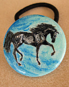 Horses Jewelry - Black Horse ponytail holder by Connie Owens