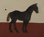 Tribal Painting Originals - Black Horse by Sophy White