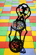Colour Acrylic Prints - Black iron chair Acrylic Print by Garry Gay