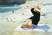 Beach Towel Painting Posters - Black jumper Poster by Lucy Willis