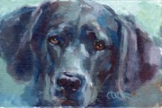 Animal Commission Posters - Black Lab Bandit Poster by Kimberly Santini