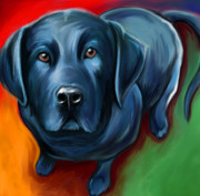 Labrador Digital Art Metal Prints - Black Lab Metal Print by David Kyte