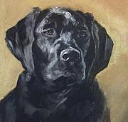 Lab Pastels - Black Lab by Debbie Anderson