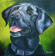 Animal Drawings Prints - Black Lab Forever Print by Susan A Becker