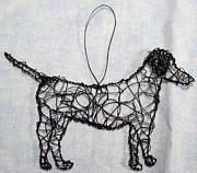 Lab Sculptures - Black lab ornament by Charlene White