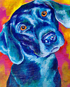 Black Lab Puppy Paintings - Black Lab Pop art by Christy  Freeman