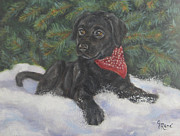 Lab Puppy Posters - Black Lab Puppy in the Snow Poster by Gayle Rene