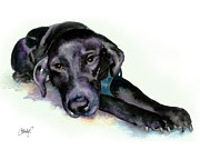 Black Lab Puppy Paintings - Black Lab Stretching out by Christy  Freeman