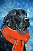 Xmas Painting Originals - Black Labrador and red scarf by Louise Charles-Saarikoski