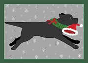 Labrador Digital Art - Black Labrador Steals Santas Hat by Amy Reges
