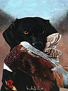 Pheasant Paintings - Black Labrador with Pheasant by Bradley Litz
