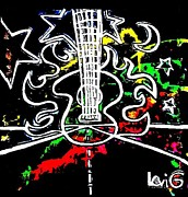 Flying Guitars Originals - Black light neon splash Flaming Guitar on highway by Levi Glassrock