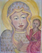 Black Madonna Paintings - Black Madonna by Suzanne Reynolds