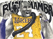 Lakers Drawings - Black Mamba by Kelvin Winters