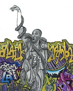 Los Angeles Lakers Drawings Posters - Black Mamba Poster by Steve Weber