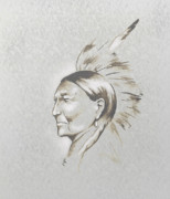 Native-american Mixed Media Prints - Black Man Print by Robert Martinez