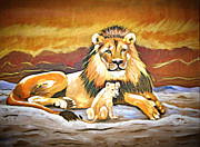 Golds Posters - Black maned Lion and Cub Poster by Phyllis Kaltenbach