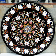 Mosaic Jewelry - Black marble Inlay Dining table by Mohammad Azhar