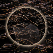 Abstract Pyrography Metal Prints - Black Moon Halo Metal Print by Kurt Gustafson