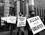 Black Muslims Posters - Black Muslims Picket Front Of New York Poster by Everett