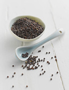 Y120831 Art - Black Mustard Seeds In Bowl With Spoon, Close Up by Westend61