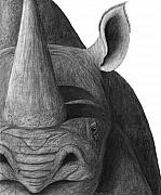 Rhinoceros Originals - Black on White by Heather Ward