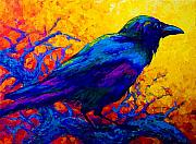 Bird Paintings - Black Onyx - Raven by Marion Rose