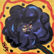 Primitive Drawings - Black Pansy by Mary Carol Williams