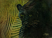 Cat Mixed Media Prints - Black Panther Print by Arline Wagner