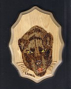 Mammal Pyrography Prints - Black Panther Print by Clarence Butch Martin