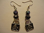 Silver Earrings Jewelry Metal Prints - Black Pirate Earrings Metal Print by Jenna Green