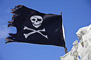 Waving Flag Framed Prints - Black Pirate Flag  Framed Print by Garry Gay