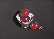 Valerie R Jackson - Black Plums White Bowl
