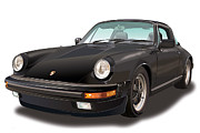 Also Digital Art - Black Porsche 911 SC Targa  by Alain Jamar