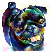 Black Painting Posters - Black Pug Poster by Christy  Freeman