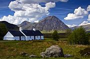 Glen Etive Photos - Black Rock Cottage and Buachaille Etive Mor by John McKinlay