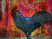 Rooster Mixed Media - Black Rooster by Joseph Ferguson