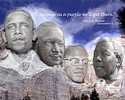 Barack Obama Framed Prints - Black Rushmore Framed Print by Phoenix Jackson