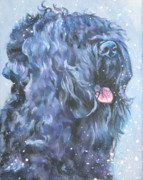 Black Russian Posters - Black russian Terrier in snow Poster by L A Shepard