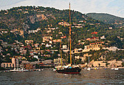 Impressionism Seascape Posters - Black Sailboat At Villefranche II Poster by Steven Sparks