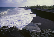 Hawai Posters - Black Sand Beach From Lava Fragments Poster by G. Brad Lewis