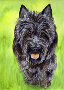 Scottie Portrait Paintings - Black Scottish Terrier by Cherilynn Wood