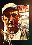 Baseball Paintings - Black Sox by Ken Meyer jr