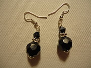 Silver Earrings Jewelry Metal Prints - Black Sparkle Drop Earrings Metal Print by Jenna Green