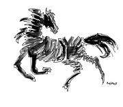 Abstract Canvas Drawings Prints - Black Stallion 2 Print by Mimo Krouzian
