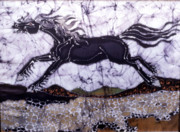 White Tapestries - Textiles Prints - Black Stallion Gallops Over Stones Print by Carol  Law Conklin