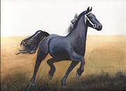 Stallion Paintings - Black Stallion by Kathy Nesseth
